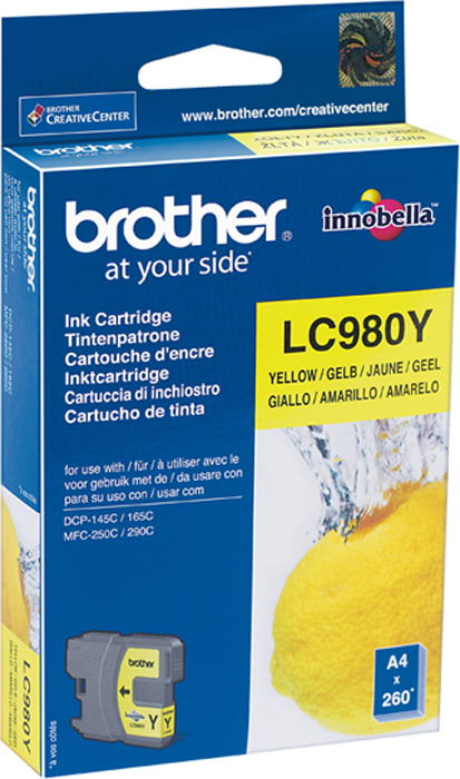 Brother LC980Y, Yellow картридж для Brother DCP-145C/DCP-165C/DCP-195C/DCP-375CW/MFC-250C картридж brother lc525xly yellow для dcp j100 j105 j200