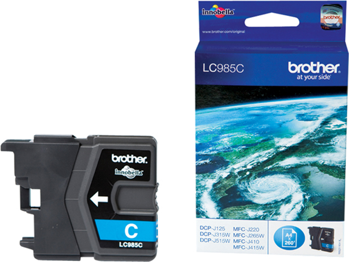 Brother LC985C, Cyan картридж для Brother DCP-J315W/DCP-J515W/MFC-J265W brother 355d