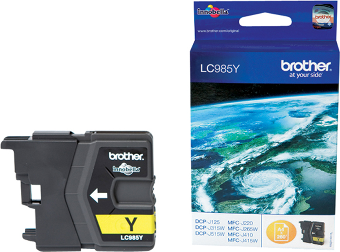 Фото - Brother LC985Y, Yellow картридж для Brother DCP-J315W/DCP-J515W/MFC-J265W t2 ic b1240y yellow картридж для brother dcp j525 mfc j430 j825 j5910 j6510 j6910