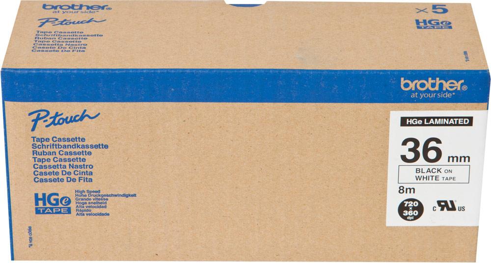 Brother HGE261V5, White Black лента для матричного принтера 36 мм brother x 5