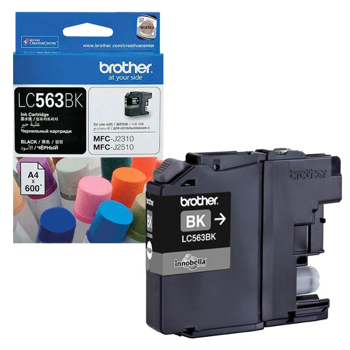 Brother LC563BK, Black картридж для Brother MFC-J2310, MFC-J2510, MFC-J3520, MFC-J3720LC563BKКартридж струйный Brother LC563BK черный для MFC-J2310, MFC-J2510, MFC-J3520, MFC-J3720 (600 стр)