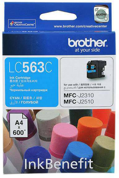 Brother LC563C, Cyan картридж для Brother MFC-J2310, MFC-J2510, MFC-J3520, MFC-J3720LC563CКартридж струйный Brother LC563C голубой для MFC-J2310, MFC-J2510, MFC-J3520, MFC-J3720 (600 стр)