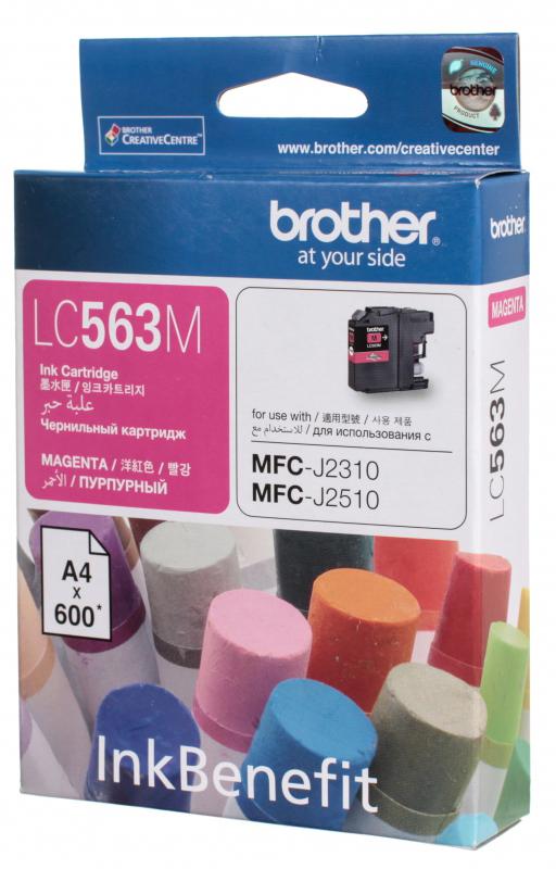 Brother LC563M, Magenta картридж для Brother MFC-J2310, MFC-J2510, MFC-J3520, MFC-J3720LC563MКартридж струйный Brother LC563M пурпурный для MFC-J2310, MFC-J2510, MFC-J3520, MFC-J3720 (600 стр)
