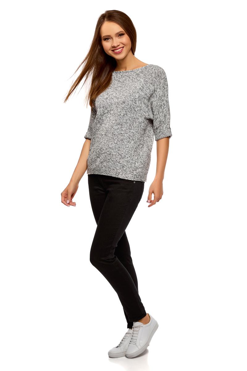 Джемпер женский oodji Ultra, цвет: белый, черный меланж. 63805318/47699/1229M. Размер S (44)