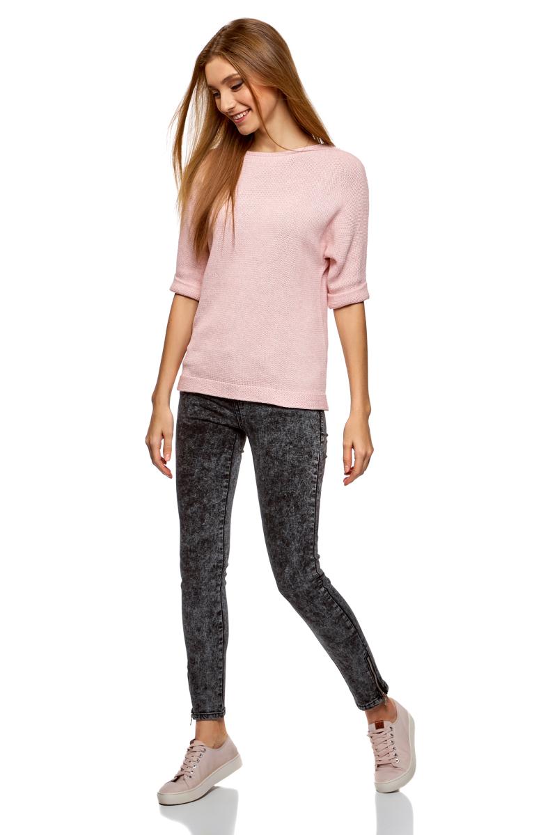 Джемпер женский oodji Ultra, цвет: розовый, белый меланж. 63805318/47699/4112M. Размер XS (42)