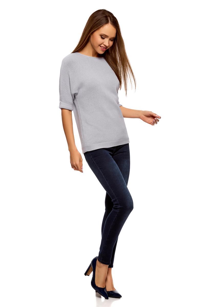 Джемпер женский oodji Ultra, цвет: сиреневый. 63805318/47699/8000N. Размер XL (50) платье oodji ultra цвет сиреневый 14017001 6b 47420 8000n размер xl 50