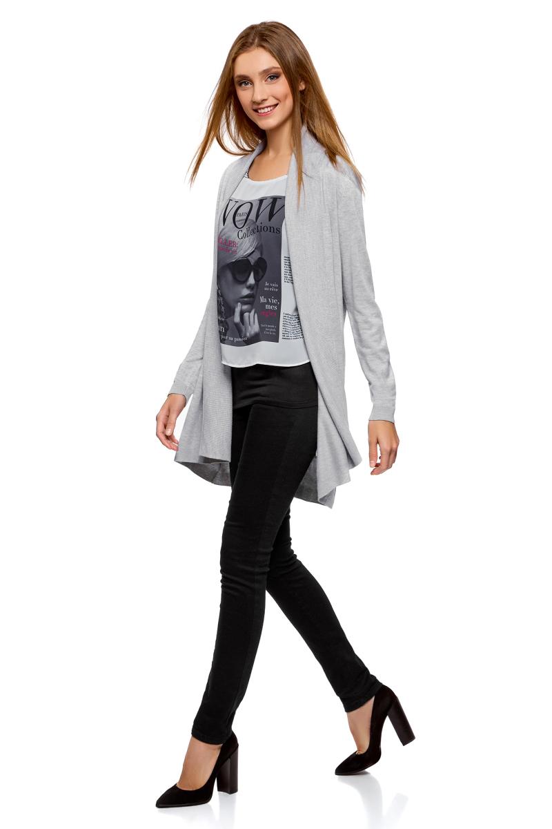 Кардиган женский oodji Collection, цвет: серый меланж. 73212398B/45904/2300M. Размер XL (50)73212398B/45904/2300MКардиган от oodji выполнен из высококачественного материала. Модель с длинными рукавами без застежки.