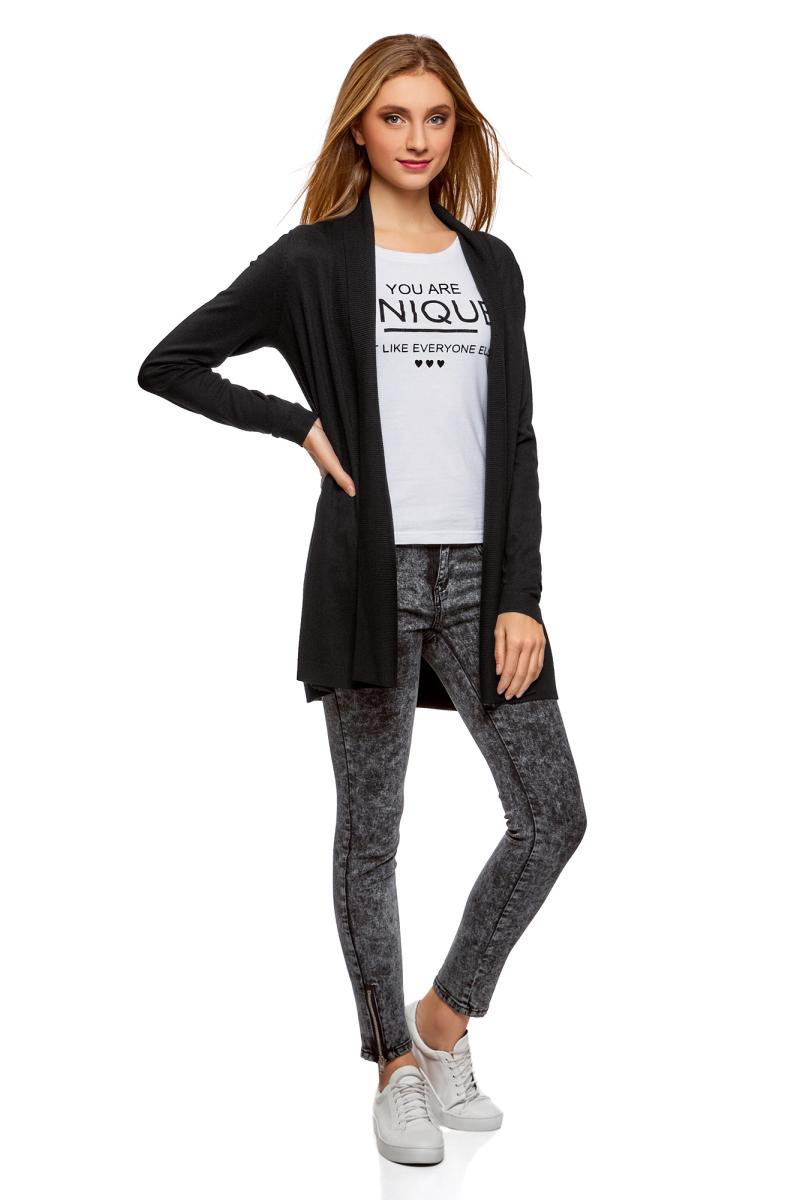 Кардиган женский oodji Collection, цвет: черный. 73212398B/45904/2900N. Размер XXS (40)73212398B/45904/2900NКардиган от oodji выполнен из высококачественного материала. Модель с длинными рукавами без застежки.