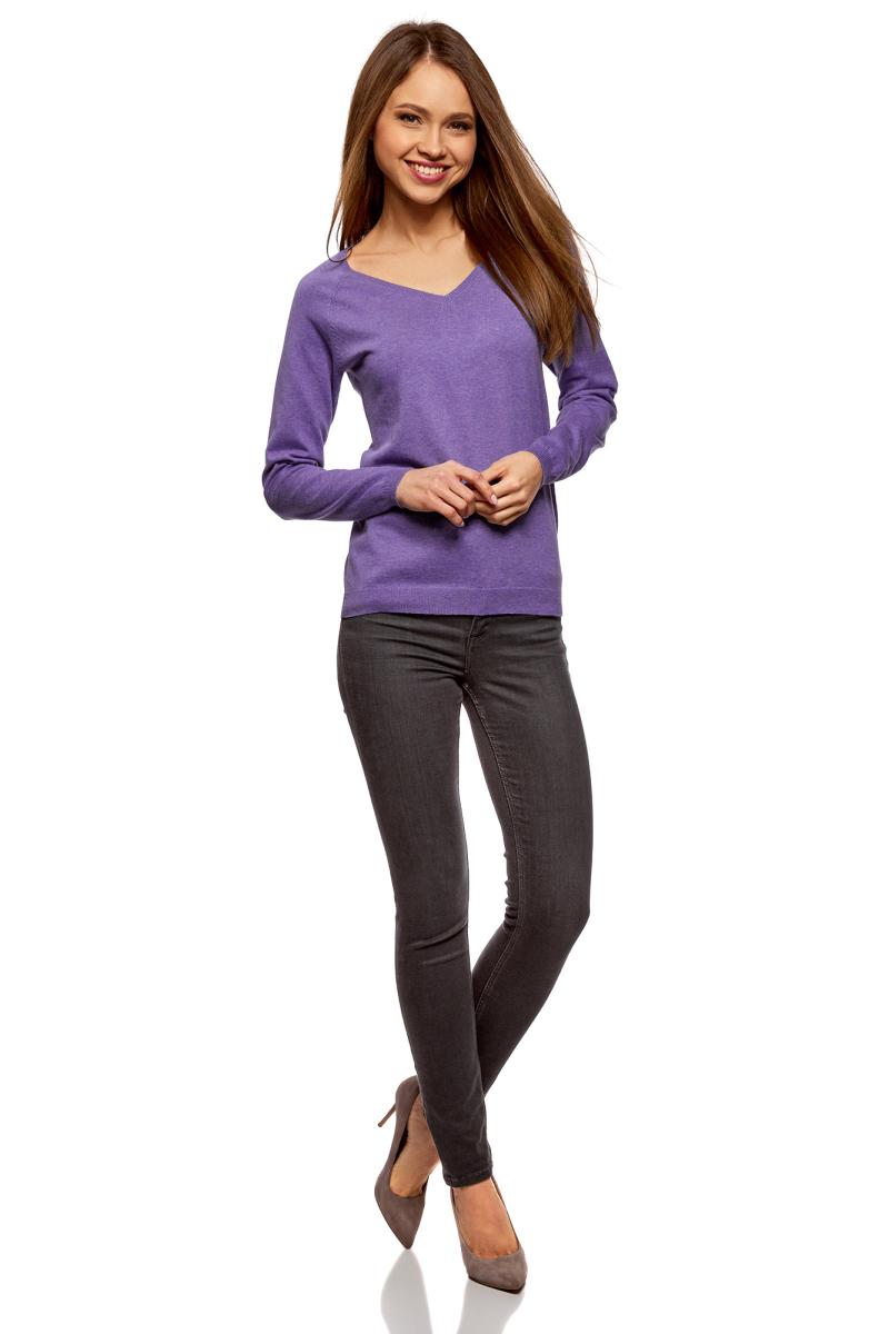 Пуловер женский oodji Ultra, цвет: темно-фиолетовый меланж. 63812633B/46192/8800M. Размер XXL (52)