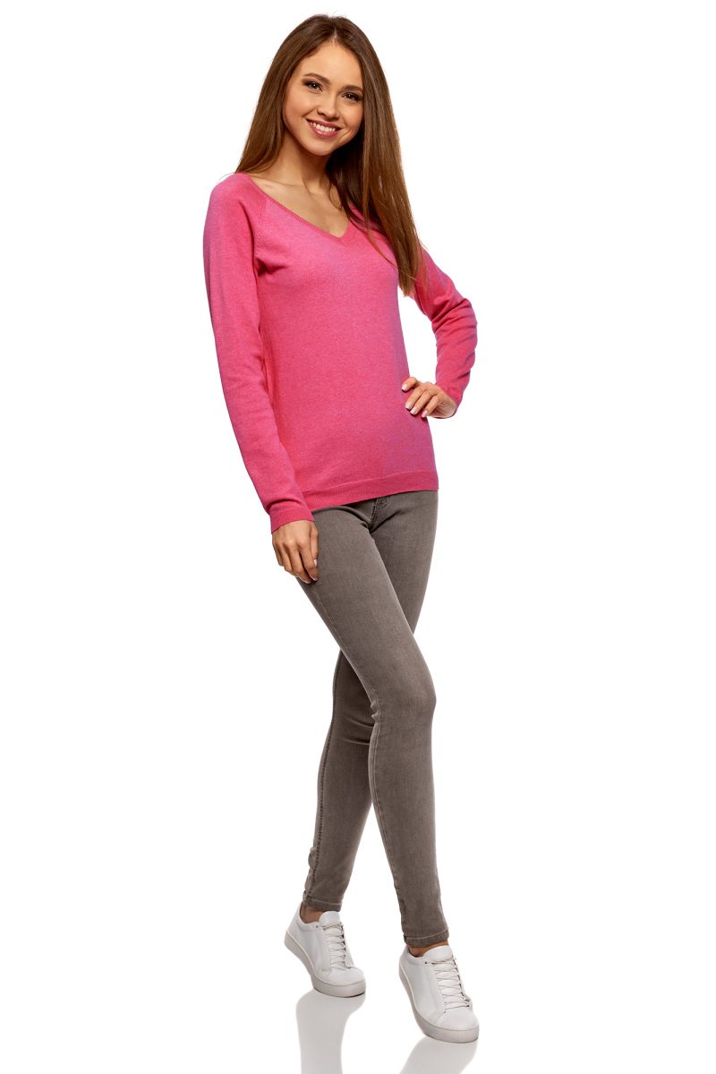 Пуловер женский oodji Ultra, цвет: ягодный меланж. 63812633B/46192/4C00M. Размер XL (50)