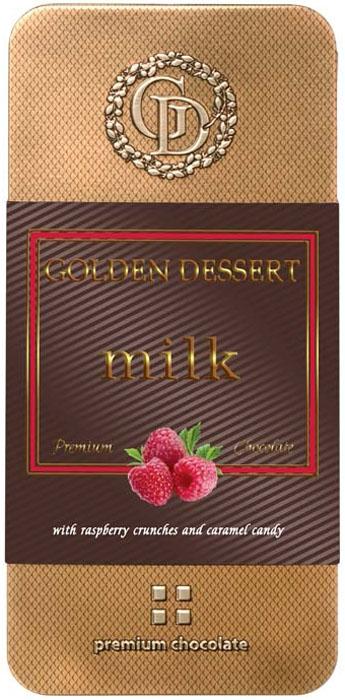 Golden Dessert молочный шоколад с кранчами малины и леденцовой карамелью, 100 г nissui 30