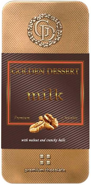 Golden Dessert молочный шоколад с грецким орехом и хрустящими шариками, 95 г golden dessert молочный шоколад с кранчами малины и леденцовой карамелью 100 г