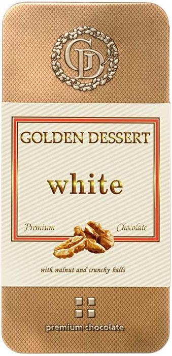 Golden Dessert белый шоколад с грецким орехом и хрустящими шариками, 95 гицг019Белый шоколад относительного своего собратагорького шоколадаявляется довольно молодым продуктом на рынке сладостей, но, несмотря на это, сегодня он имеет множество поклонников. Традиционно белый шоколад—это шоколад, который готовится из какао-масла, сахара, сухого молока и ванилина.В отличие от классического шоколада, шоколад белый не содержит какао-порошка.Вкус его нежный, сливочный, в меру сладкий, но не приторный.Именно такой вкус белого шоколада торговой марки «Golden Dessert». Натуральный белый шоколад содержит такие вещества, как витамины группы В, ряд минералов, но в очень небольшом количестве.Большее значение в составе имеет калий, фосфор и холин.Но полностью отсутствуют – кофеин и теобромин, вещества, оказывающие возбуждающее действие и провоцирующие аллергические реакции.