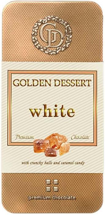 Golden Dessert белый шоколад с хрустящими шариками и леденцовой карамелью, 95 г golden dessert молочный шоколад с кранчами малины и леденцовой карамелью 100 г