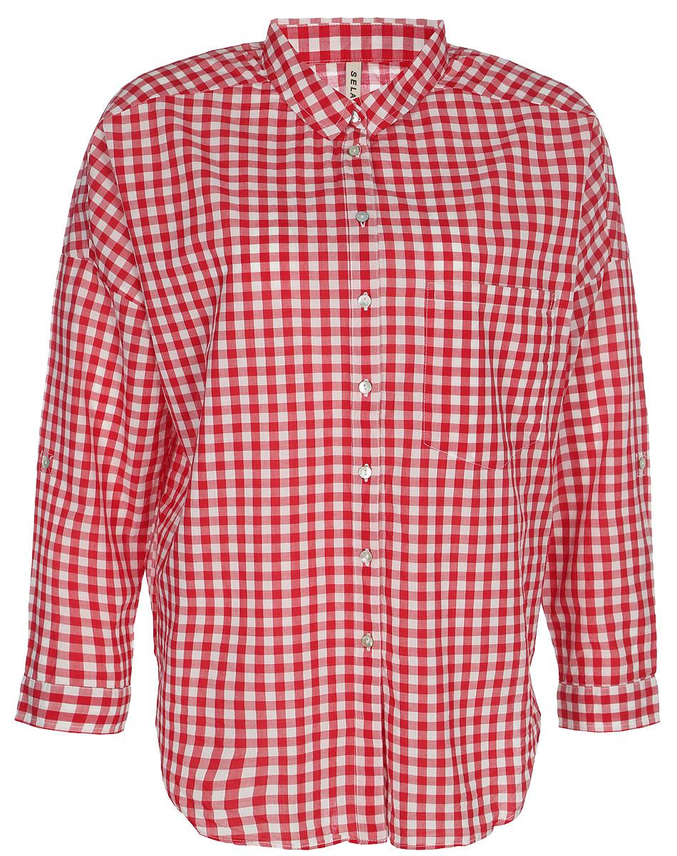 Рубашка женская Sela, цвет: ярко-красный. B-312/026-8131. Размер 46B-312/026-8131Рубашка женская Sela выполнена из натурального хлопка. Модель с отложным воротником и длинными рукавами застегивается на пуговицы.