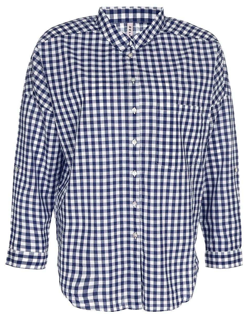 Рубашка женская Sela, цвет: темно-синий. B-312/026-8131. Размер 42B-312/026-8131Рубашка женская Sela выполнена из натурального хлопка. Модель с отложным воротником и длинными рукавами застегивается на пуговицы.