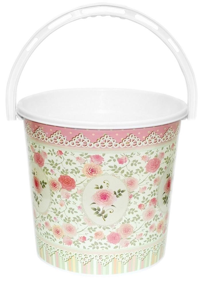 Ведро хозяйственное Violet Чайная роза, цвет: розовый, 10 л ведро хозяйственное violet рубин цвет красный 10 л