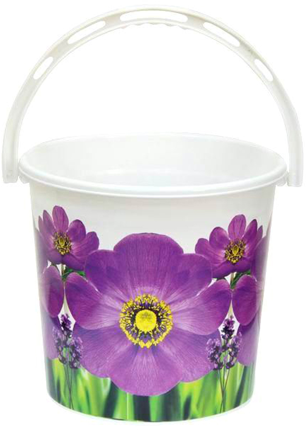 Ведро хозяйственное Violet Фиалка, цвет: белый, фиолетовый, 10 л ведро хозяйственное violet рубин цвет красный 10 л