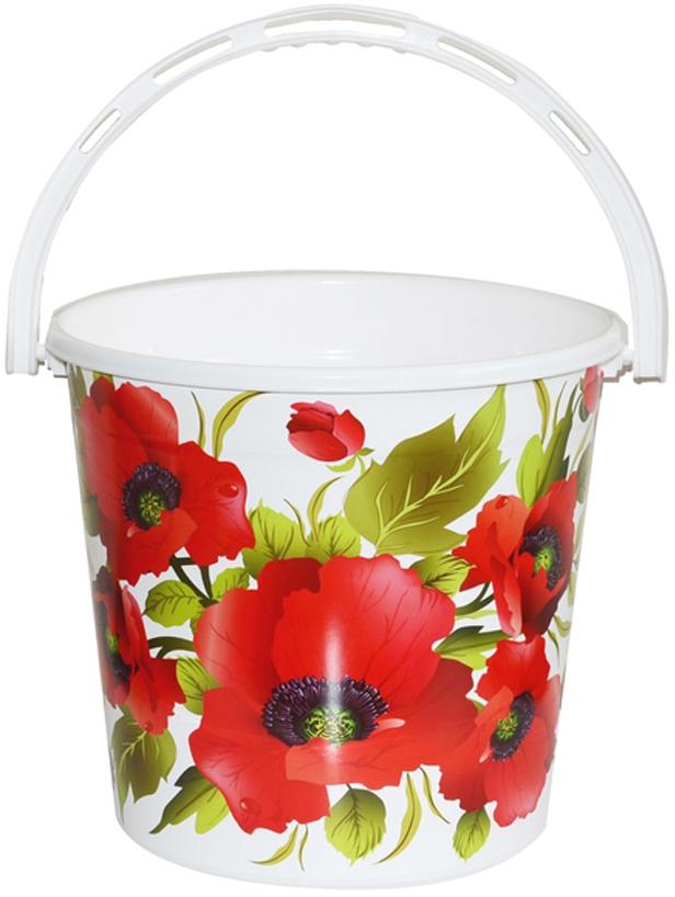 все цены на Ведро хозяйственное Violet Красные маки, цвет: белый, красный, 12 л