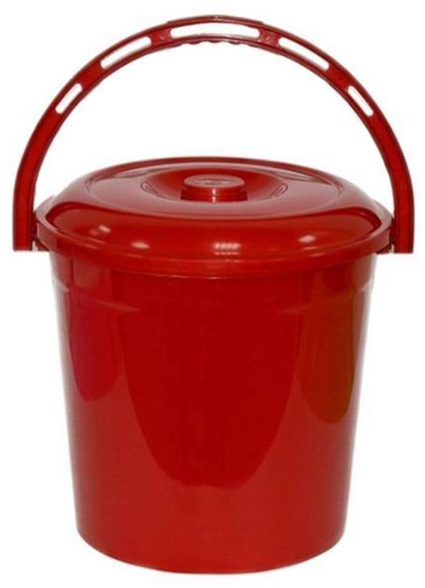 Ведро хозяйственное Violet Рубин, с крышкой, цвет: красный, 10 л ведро хозяйственное violet красные маки цвет белый красный 12 л