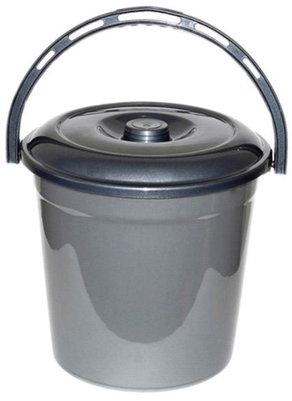 Ведро хозяйственное Violet Графит, с крышкой, цвет: серый, 10 л мусорное ведро violet плетенка с выдвижной крышкой 14 л