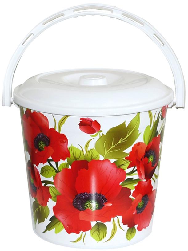 Ведро хозяйственное Violet Красные маки, с крышкой, цвет: белый, красный, 10 л мусорное ведро violet плетенка с выдвижной крышкой 14 л