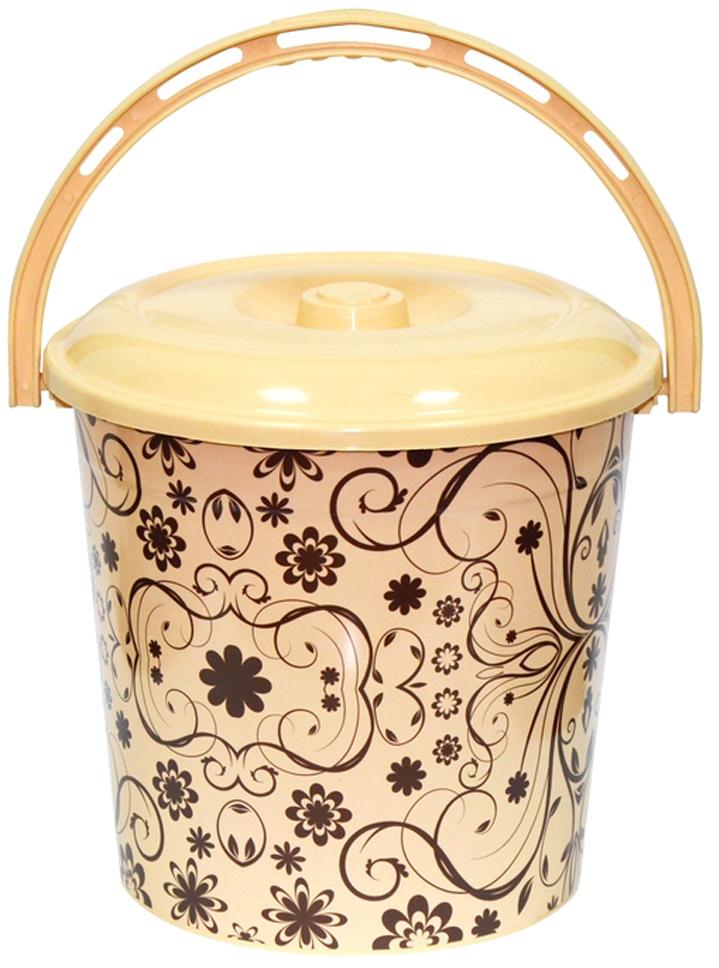 Ведро хозяйственное Violet Элегант светлый, с крышкой, цвет: светло-коричневый, 10 л мусорное ведро violet плетенка с выдвижной крышкой 14 л