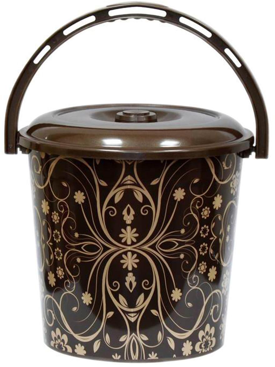 все цены на Ведро хозяйственное Violet Элегант темный, с крышкой, цвет: шоколадный, 10 л