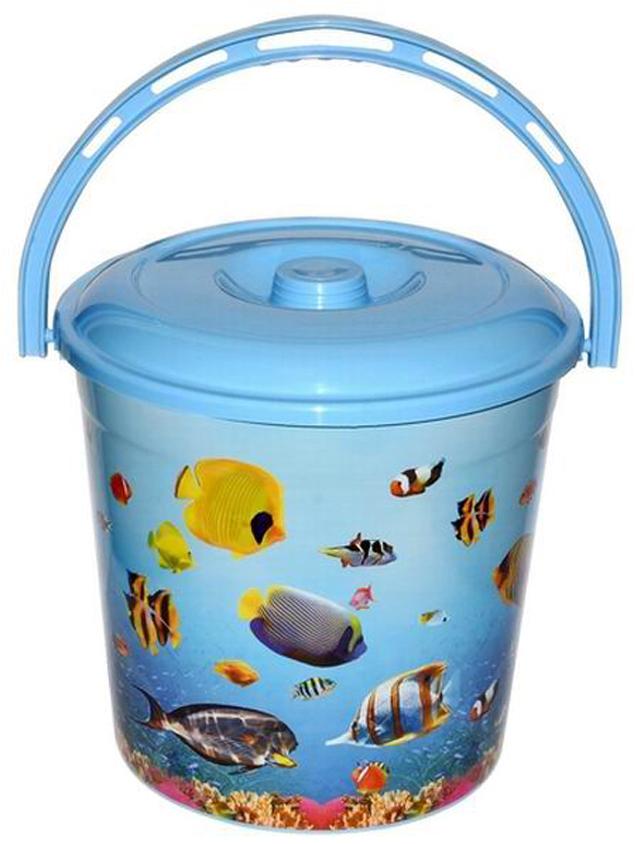 Ведро хозяйственное Violet Океан, с крышкой, цвет: голубой, 10 л мусорное ведро violet плетенка с выдвижной крышкой 14 л
