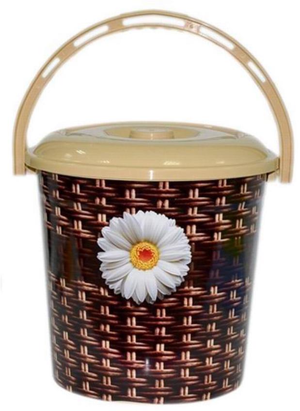 Ведро хозяйственное Violet Плетенка, с крышкой, цвет: коричневый, 10 л мусорное ведро violet плетенка с выдвижной крышкой 14 л