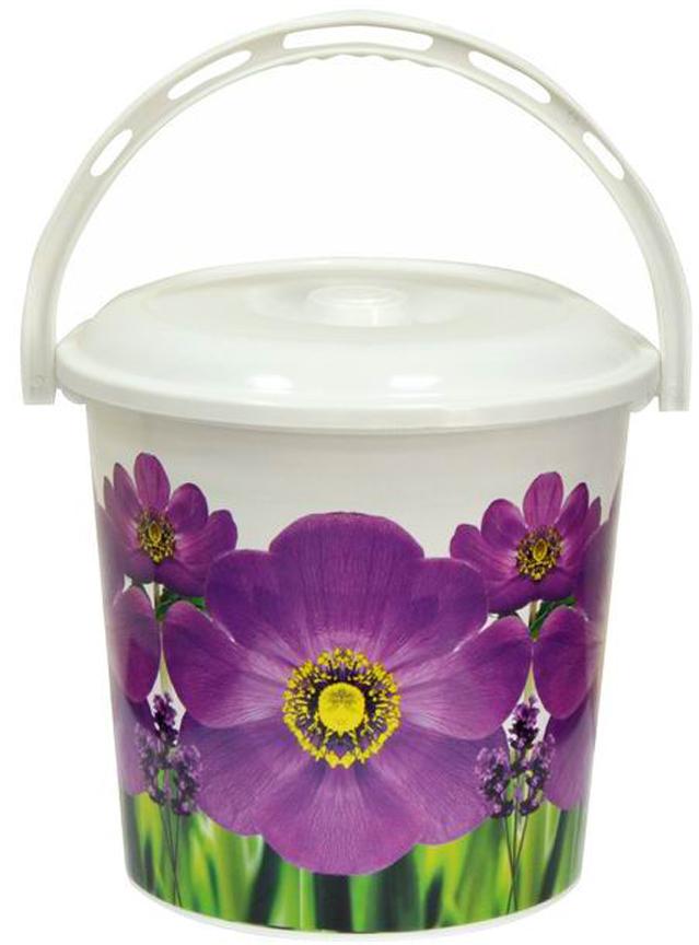 все цены на Ведро хозяйственное Violet Фиалка, с крышкой, цвет: белый, фиолетовый, 10 л
