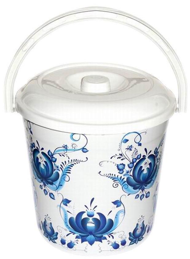 Ведро хозяйственное Violet Гжель, с крышкой, цвет: белый, синий, 12 л мусорное ведро violet плетенка с выдвижной крышкой 14 л
