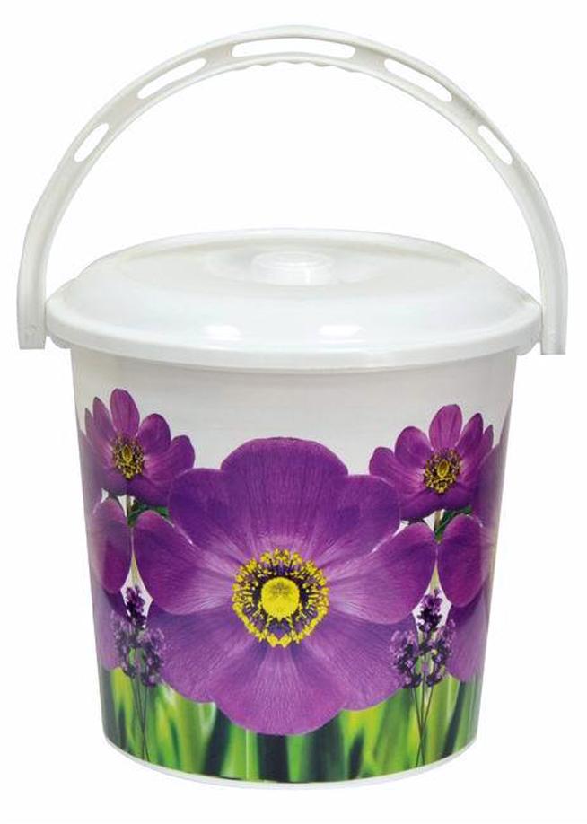 все цены на Ведро хозяйственное Violet Фиалка, с крышкой, цвет: белый, фиолетовый, 12 л