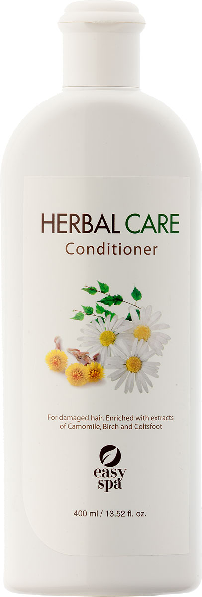 Easy Spa Кондиционер для повреждённых волос Herbal Care, 400 мл61446Разработан специально для питания волос, превращает сухие волосы в гладкие и блестящие. Масло жожоба и экстракт мать-и-мачехи улучшают и укрепляют волосы, наполняют их сиянием. Применение: Нанести кондиционер на волосы. Оставить на 3-5 минут. Тщательно промыть.