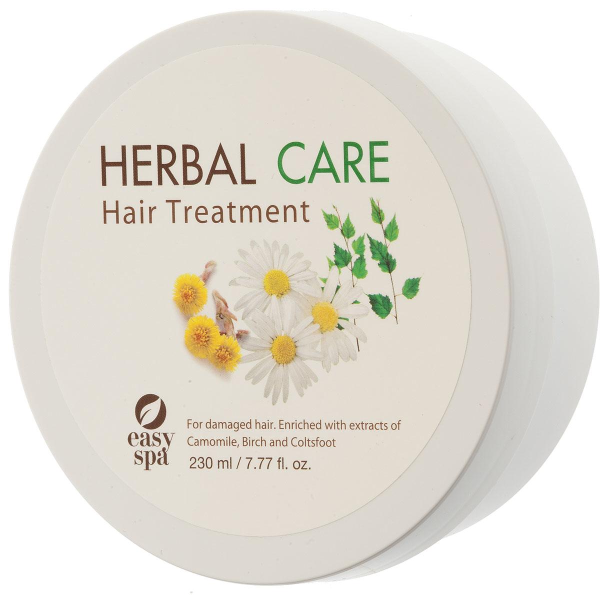 Easy Spa Маска для повреждённых волос Herbal Care, 230 мл61546Концентрированный крем для лечения волос распутывает и смягчает волосы, придает им блеск и эластичность. Содержит экстракт шелка, Д-пантенол, масло жожоба, экстракты ромашки, березы и мать-и-мачехи, которые бережно ухаживают за кожей головы и восстанавливают поврежденную структуру волос. Применение: после мытья волос нанесите на влажные волосы, сделайте массаж от корней до кончиков, и оставьте на 10-15 минут, затем промойте в чистой воде.