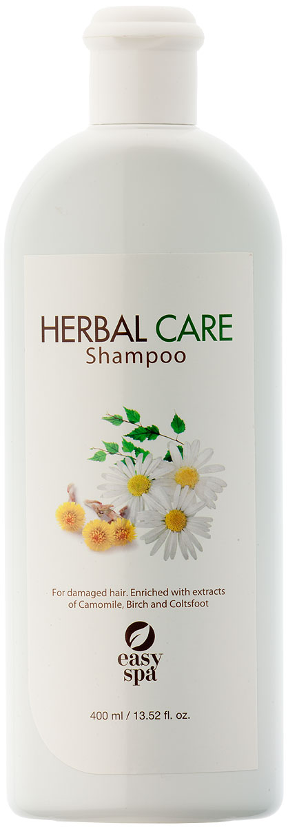 Easy Spa Шампунь для повреждённых волос Herbal Care, 400 мл61346Чистая растительная формула обогащенная кондиционирующим полимером для эффективного лечения поврежденных волос. Содержит экстракты ромашки, березы и мать-и-мачехи, которые благотворно влияют на структуру волос и кожу головы. Волосы становятся эластичными, гладкими, сияющими блеском. Нанесите на влажные волосы, мягко массируйте до образования пены, тщательно промойте водой. При необходимости повторите. Для достижения наилучших результатов используйте с Bio Herbal кондиционером или маской.