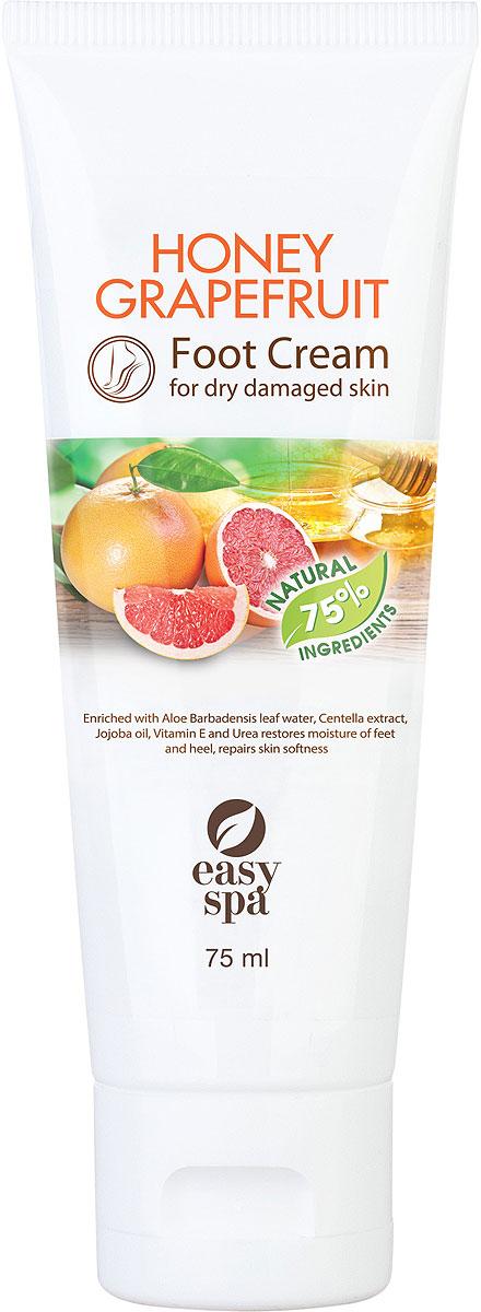 Easy Spa Крем для стоп для сухой и поврежденной кожи Honey Grapefruit, 75 мл62856Крем для сухой и поврежденной кожи стоп с медом, экстрактом грейпфрута, маслом жожоба, витамином Е и мочевиной.Легкая формула крема с медом и экстрактом грейпфрута интенсивно увлажняет кожу стоп, защищает от сухости и делает ее более мягкой и ухоженной. Входящие в состав масло жожоба, витамин Е и мочевина глубоко увлажняют и питают кожу, способствуют заживлению мелких трещинок и предупреждают их появление.