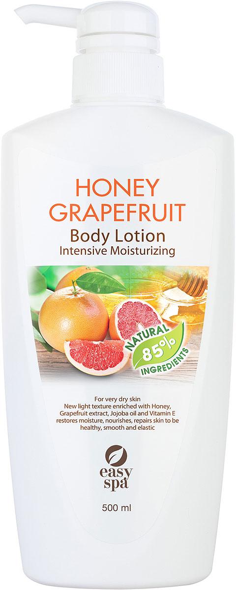 Easy Spa Лосьон для тела для сухой кожи Honey Grapefrui, 500 мл62656Лосьон для тела для сухой кожи с медом, экстрактом грейпфрута, маслом жожоба и витамином Е. Нежная формула лосьона с медом и экстрактом грейпфрута легко наносится, быстро впитывается, прекрасно увлажняет сухую кожу и тонизирует ее. Входящие в состав мед, экстракт грейпфрута, масло жожоба и витамин Е глубоко питают кожу и восстанавливают ее эластичность.