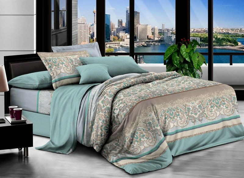 Комплект белья Soft Line, 2-х спальное, наволочки 50x70, цвет: зеленый. 60516051Постельное белье SL из сатина с декоративной отделкой