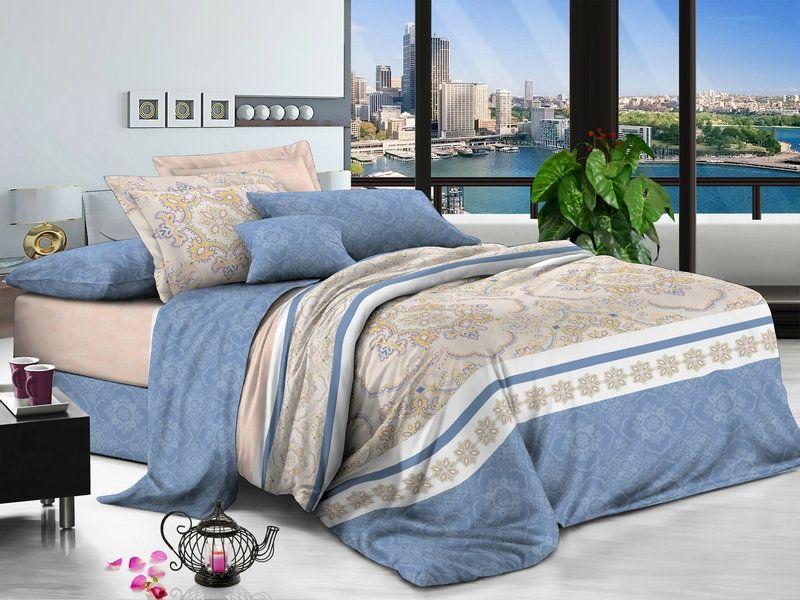 Комплект белья Soft Line, семейный, наволочки 50x70, цвет: голубой. 60576057Постельное белье SL из сатина с декоративной отделкой