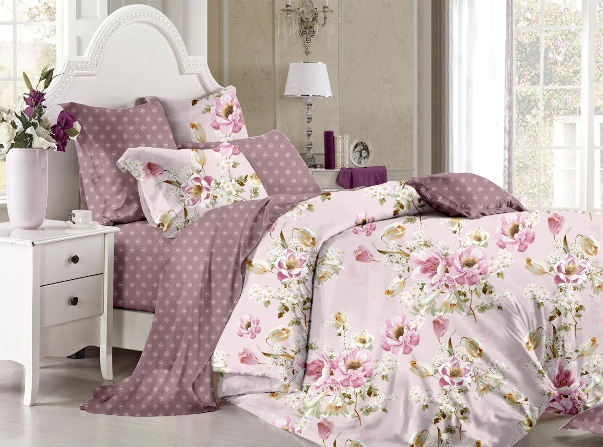 Комплект белья Soft Line, семейный, наволочки 50x70, цвет: фиолетовый. 60656065Постельное белье SL из сатина с декоративной отделкой