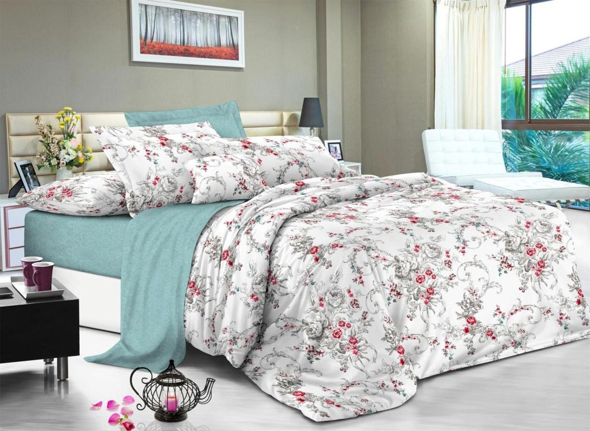 Комплект белья Soft Line, 2-х спальное, наволочки 50x70, цвет: мультиколор. 61056105Постельное белье SL из сатина с декоративной отделкой