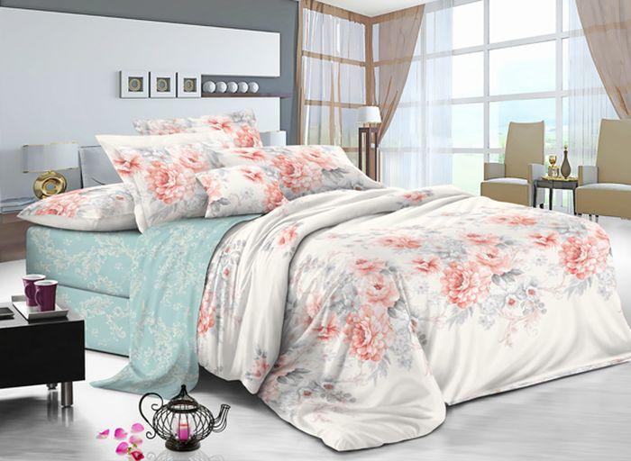 Комплект белья Soft Line, семейный, наволочки 50x70, цвет: мультиколор. 61116111Постельное белье SL из сатина с декоративной отделкой