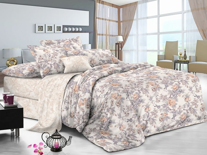Комплект белья Soft Line, семейный, наволочки 50x70, цвет: мультиколор. 61156115Постельное белье SL из сатина с декоративной отделкой