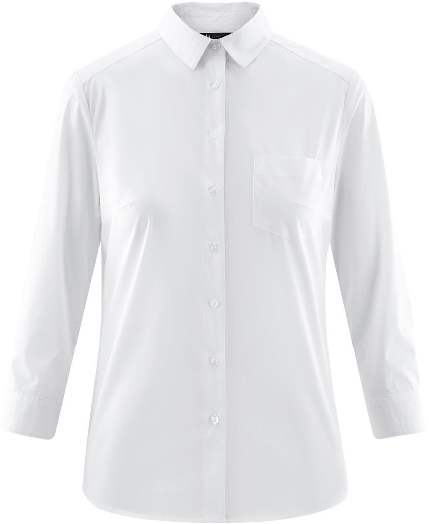 Рубашка_от_oodji_выполнена_из_хлопкового_материала._Модель_с_нагрудным_карманом,_рукавом_3/4_и_отложным_воротником_застегивается_на_пуговицы.