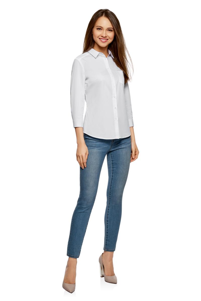 Купить Рубашка женская oodji Ultra, цвет: белый. 13K01005B/42083/1000N. Размер 34-170 (40-170)