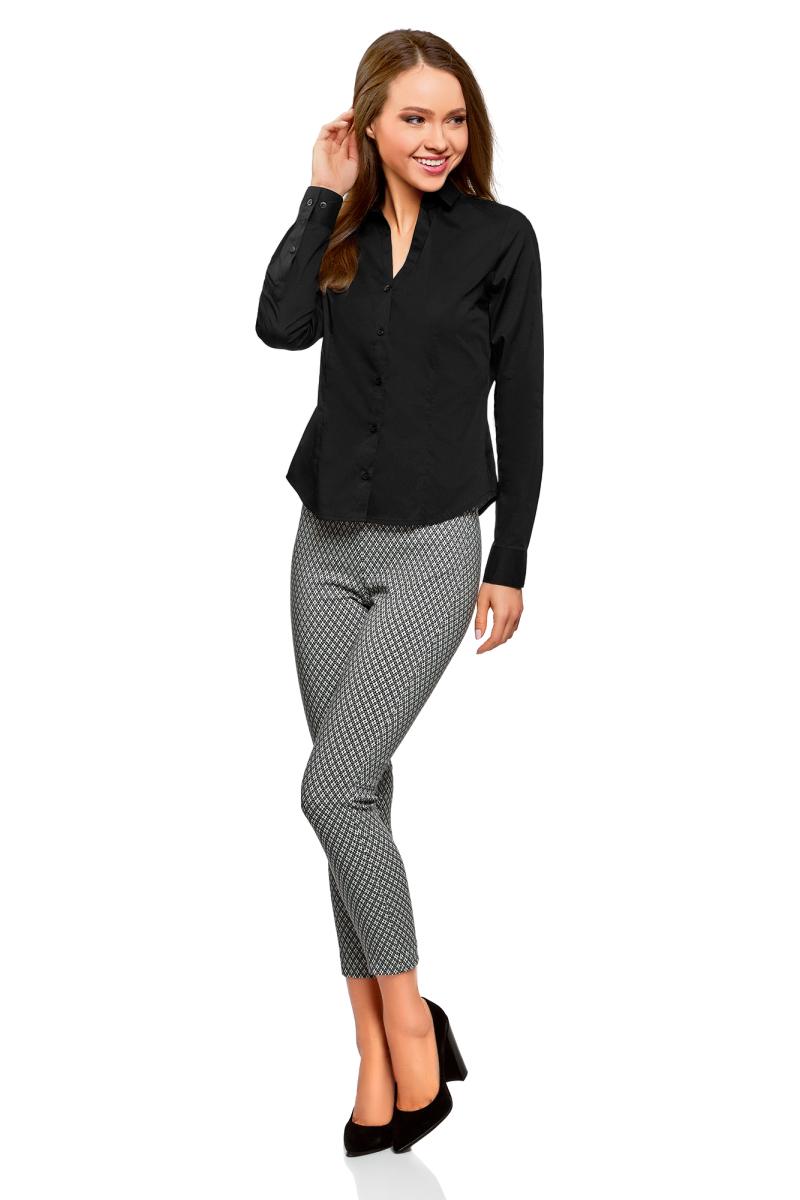Рубашка женская oodji Ultra, цвет: черный. 13K02001B/42083/2900N. Размер 34-170 (40-170)