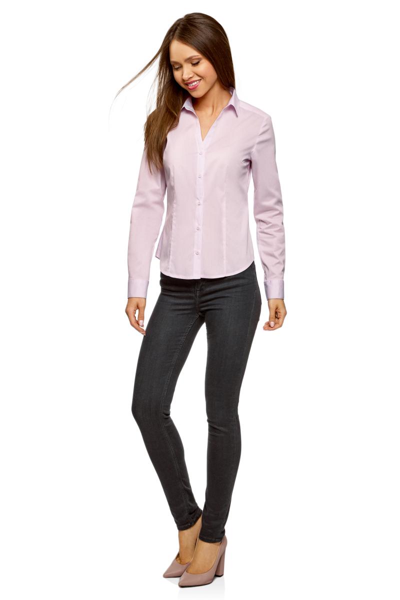 Рубашка женская oodji Ultra, цвет: светло-розовый. 13K02001B/42083/4001N. Размер 36-170 (42-170)13K02001B/42083/4001NРубашка от oodji выполнена из хлопкового материала. Модель приталенного кроя с длинными рукавами и отложным воротником застегивается на пуговицы.