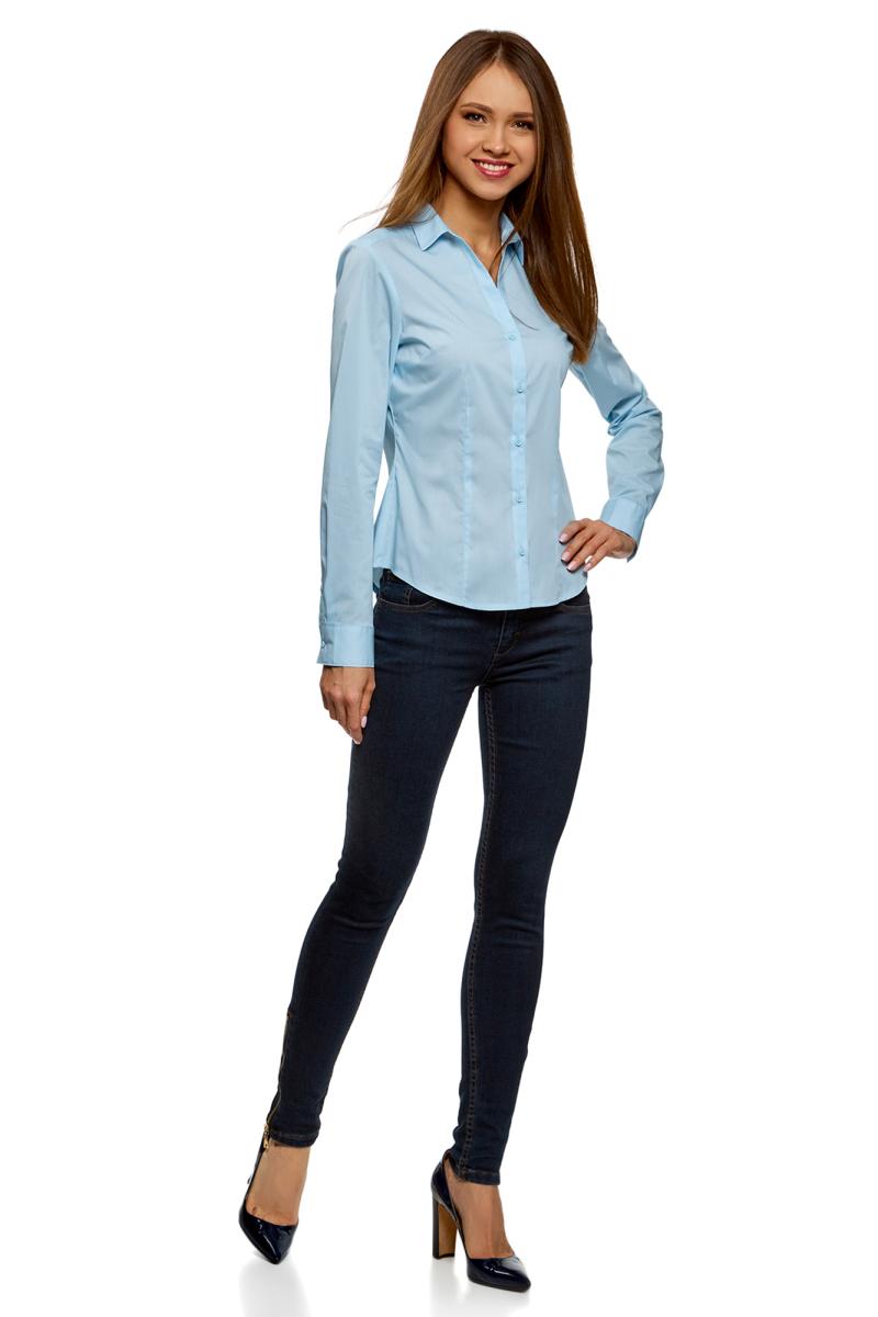 Рубашка женская oodji Ultra, цвет: голубой. 13K02001B/42083/7000N. Размер 36-170 (42-170)13K02001B/42083/7000NРубашка базовая с V-образным вырезом
