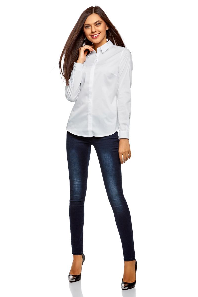 Рубашка женская oodji Ultra, цвет: белый. 13K03003B/42083/1000N. Размер 34-170 (40-170)13K03003B/42083/1000NРубашка от oodji выполнена из хлопкового материала. Модель приталенного силуэта с длинными рукавами и отложным воротником на груди застегивается на пуговицы.